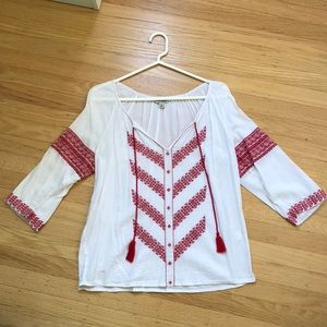 Lucky brand red & white blouse